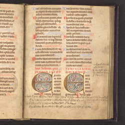 Illuminated Psalm 80 Initials, In A Psalter In Latin And French